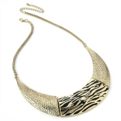 Animal Print Choker / Collar Fashion Necklace Antique Gold & Black