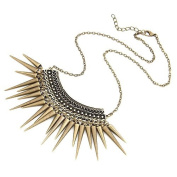 Antique Gold Tone Textured Chain Link Panel Spike Necklace