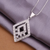 DUMAN Fashion Jewellery Neckwear Silver Plated Inlaid Stone Rhombic Necklace Valentine's day, Christmas Gifts