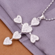DUMAN Fashion Jewellery Neckwear Silver Plated Hearts Cross Necklace Valentine's day, Christmas Gifts