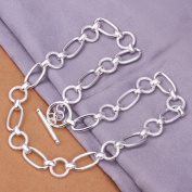 DUMAN Fashion Jewellery Neckwear Silver Plated Frosted Rings Necklace Valentine's day, Christmas Gifts