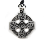 Mystical & Magical Pewter Celtic Nordic Viking Runic Druid Runes Cross Pendant - Supplied on Adjustable black rope necklace