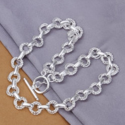 DUMAN Fashion Jewellery Neckwear Silver Plated Double Twisted Rings Necklace Valentine's day, Christmas Gifts