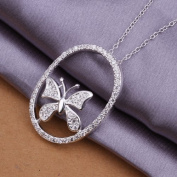 DUMAN Fashion Jewellery Neckwear Silver Plated Inlaid Stone Butterfly Necklace Valentine's day, Christmas Gifts