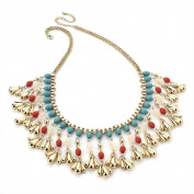 Bling Online Gold Tone Multicolour Cascading Bead Necklace.