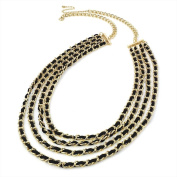Bling Online Long Four Row Gold Chain Necklace with Threaded Black Leather.