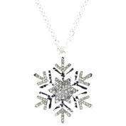 Silver and Crystal Winter Snowflake Pendant Necklace