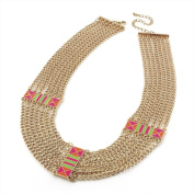 Bling Online Multi Chain Statement Necklace with Neon Enamel Detail.