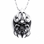 JewelryWe Cool Silver Stainless Steel Flame Skull Pendant Necklace Fashion Jewellery For Men Women
