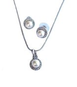 Crystal White Round Pearl Necklace Earrings Silver Bridal Jewellery Set