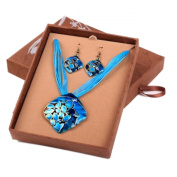 Blue Turquoise Chunky Diamante Thong Pendant Necklace Earrings GIFT BOXED