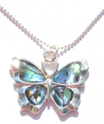 Butterfly Shaped Paua Shell Pendant On A Silver Coloured Necklace