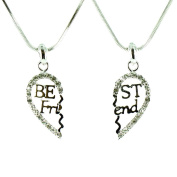 Clear Crystal on Silver Plated Two Piece Best Friend Necklace Set