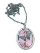 Purple Butterfly Locket Necklace Brand New In Gift Box