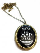 We're All Mad Here Cameo Locket Necklace Black