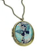 Blue Butterfly Cameo Locket Necklace
