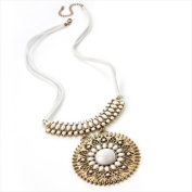 White & Gold Disc Long Cord Necklace AJ24608