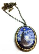 Starry Night Van Gogh Cameo Locket Necklace