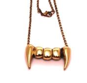 Vampire Retro Antique Copper Brass coloured teeth pendant necklace, Halloween, Gothic