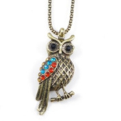 Divadoo Large Antique Gold Owl Necklace