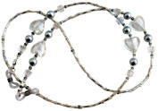 ~SILVER HEARTS~ BEAUTIFUL HAND CRAFTED BEADED SPECTACLE CHAIN GLASSES HOLDER LANYARD:::::FREE UK POSTAGE!::::::