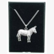 Fine Quality English Pewter Pendant Necklace Gift, Donkey Design