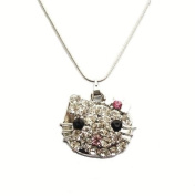 Pink Crystal Silver Bow Cat Kitty Kitten Face Necklace Pendant Fashion Jewellery