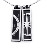 JewelryWe Fashion Black Moon & Star Meant to Be Together Couples Pendant Necklace Set in 316l Stainless Steel