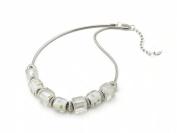 White Square Bead Murano Glass Necklace