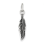 Sterling Silver Antiqued Feather Charm - JewelryWeb