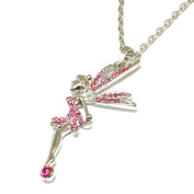 The Olivia Collection Pink Crystal Fairy Pendant on 41cm Chain