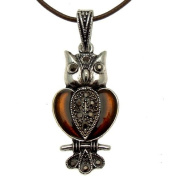 Acosta - Brown Enamel & Hematite Crystal - Vintage Marcasite Style Owl Necklace - Gift Boxed
