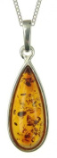 Ladies' Amber Teardrop Pendant Necklace, Silver Curb Chain, 46cm Length, Model B53 BN2974002