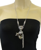 Leopard, Tassel & Smoky Glass Ladies Fashion Statement Necklace And Earring Set