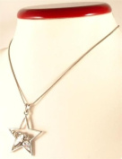 Silver coloured metal chain with star pendant - 12615