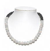 Shamballa necklace 10mm white Czech. disco ball beads crystal highly polished hematite bling woven black cord