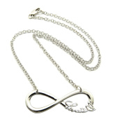 """Lovatic New Silver Colour Lovatic (TM) Infinity Sign Necklace w/ 3mm 18"""" Link Chain XC435R"""