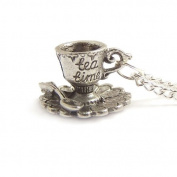 Tea cup necklace - It's always TEA TIME darling little Alice in wonderland charm necklace