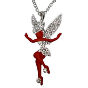 Acosta - Large Red Enamel & Clear Crystal - Fairy Necklace - Gift Boxed