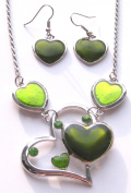 Green Hearts On A Silver Coloured Metal Necklace With Diamante Detail With Matching Earrings Set