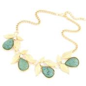 Sea Green Gemstone & Gold Effect Embellished Leaf Diamante Necklace