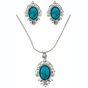 Victorian Turquoise Blue Stone & Crystal Pendant & Clip On Earrings Set
