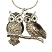 Acosta - Shadow Black Enamel & Opal Crystal - Silver Tone Double Owl Necklace - Fashion Jewellery - Gift Boxed