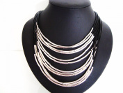 Stunning Silver Bars Tubes Multi Black Leather Cords Collar Necklace