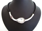 Chunky Black Leather Cord Silver Crystal Stone Necklace