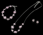 NYK Pink enamel flower with stunning crystal necklace, bracelet and earring set