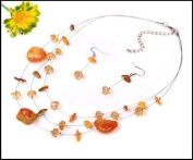 Amber Coloured Natural Stone, Shell & Crystal Multistrand Necklace With Matching Drop Silver Coloured Fishook Earwires Earrings Set