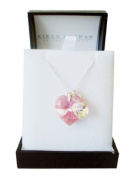 Valentine Day Jewellery Gifts for Her - Pink Double Heart Pendant on a Silver Chain