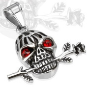 """Urban HQ Stainless Romantic Skull with Red Gemmed Eyes and a Rose Pendant - Approx size 33mm x 36.5mm incuding bale (1.3"""" wide x 1.4"""" long) Supplied on A 20"""" Chain Necklace"""