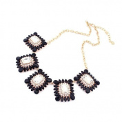 Black Silver Square. Gemstone Effect Gold Tone Necklace